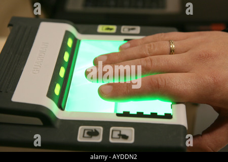 DEU Germany Essen SECURITY Exhibition Fair World biggest fair for the security business Fingerprint scanner - Stock Photo