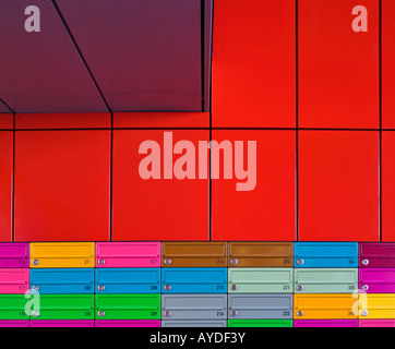 Adelaide Wharf Key Worker Apartments, Shoreditch, London, multicoloured mailboxes - Stock Photo