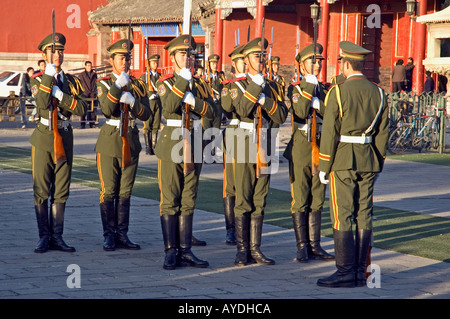 Soldiers practising military marching near Beijing's Forbidden City and Tiananmen square, China - Stock Photo