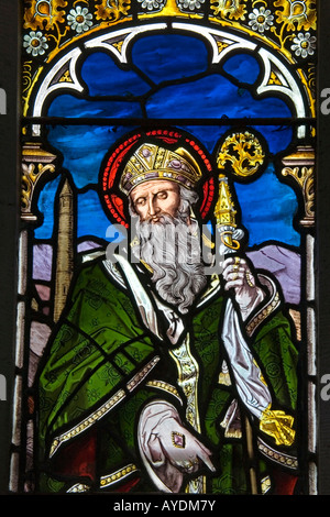 St Patrick in Stained Glass St Mary s Church Clogheen County Tipperary Ireland - Stock Photo