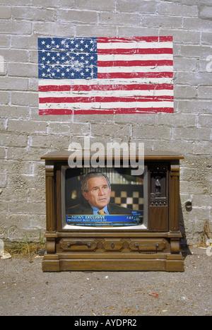 Bush on American TV - Stock Photo