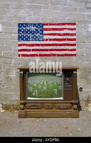 Veterans Cemetery on old style American TV set - Stock Photo