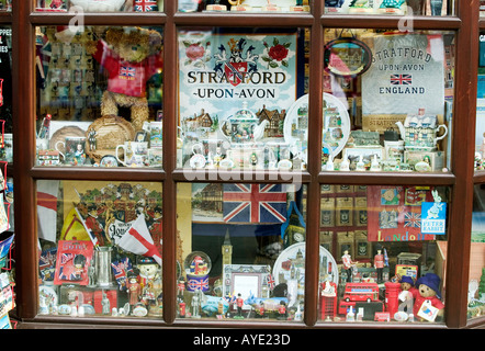 A shop window in Stratford upon Avon UK displaying gifts and souvenirs - Stock Photo