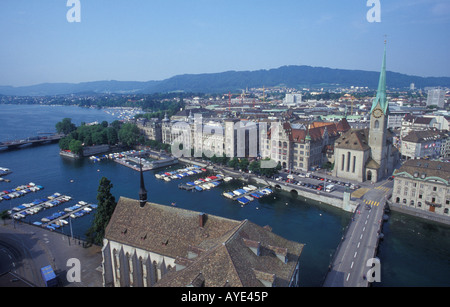 View from Grossmunster church over Zurich lake and the city of Zurich Switzerland - Stock Photo