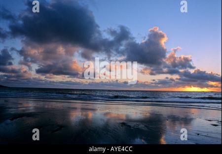 Sunset over the sea Ireland - Stock Photo