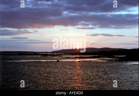 Sunset over the sea Dongloe Ireland - Stock Photo