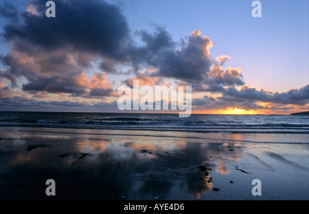 Sunset over the sea Co Donegal Ireland - Stock Photo