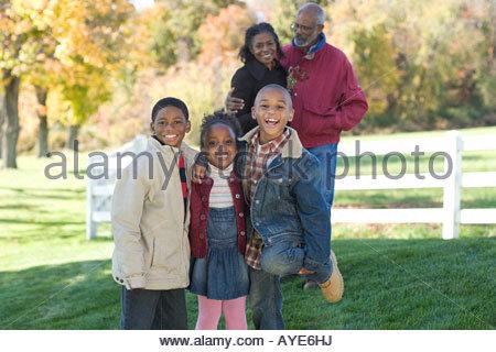 Portrait of grandparents and their grandchildren - Stock Photo