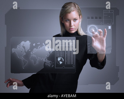 Woman with touch screen - Stock Photo