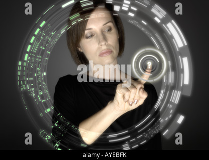 Woman touching question mark - Stock Photo