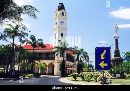 The 30 metre high post office clock tower dominates the town at Bundaberg - Stock Photo