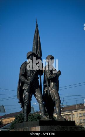 Lithuania Vilnius socialist realist statues on the Zaliasis tiltas (Green Bridge) over the River Neris - Stock Photo