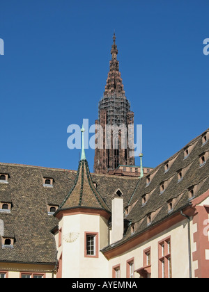 Historical museum and cathedral's spire, Strasbourg, Alsace, France - Stock Photo