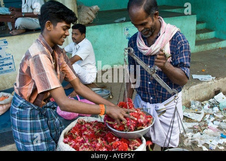 Measuring Flowers in the Flower Market in Madurai South India - Stock Photo
