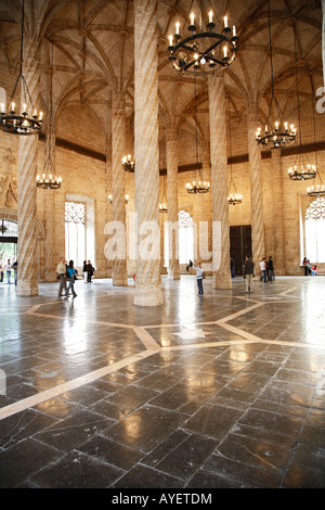 Interior of the Lonja de la Seda (Silk Exchange) Valenica, Spain - Stock Photo