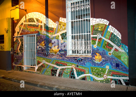 Mosaic mural on the side of a building in Buenos Aires Argentina - Stock Photo