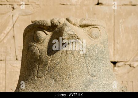 Falcon statue of the god Horus first pylon Temple of Horus Edfu Luxor Nile Valley Egypt Stock Photo