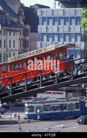 Polybahn cable railway at the Central Platz place in Zurich Switzerland - Stock Photo