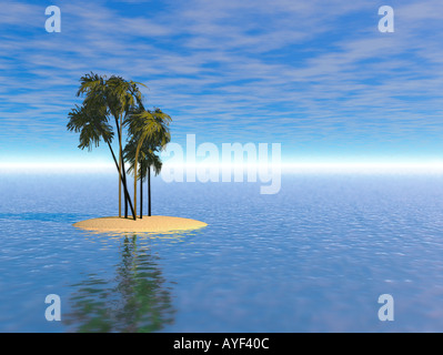 Bryce illustration of a deserted island with palm trees in an otherwise calm ocean - Stock Photo