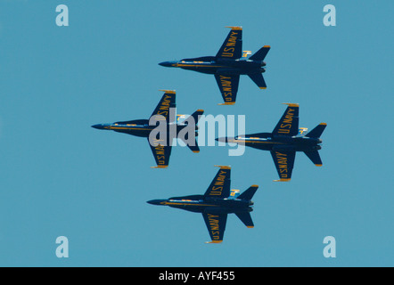 The United States Navy's Navy Flight Demonstration Squadron, Blue Angels jet squadron fly in diamond formation - Stock Photo