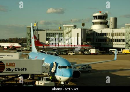 plane at Duesseldorf Airport NRW Germany - Stock Photo