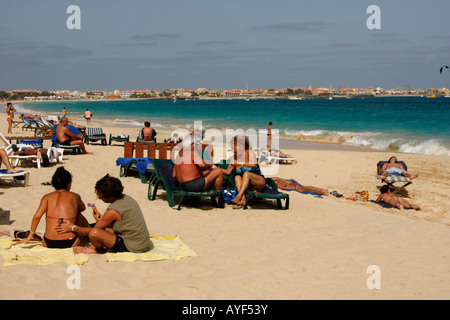 tourists sunbathing at the beach in Santa Maria - Sal island Cape Verde Africa - Stock Photo