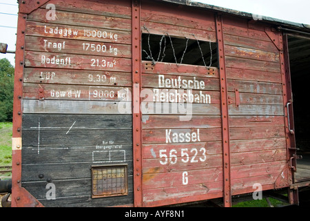 Radegast Station railcar where 200,000 Jews and gypsies rode to Auschwitz and other death camps. Lodz Central Poland - Stock Photo