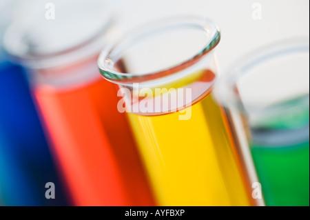 Multi-colored liquids in vials - Stock Photo