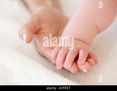 Close up of baby holding mother's hand - Stock Photo
