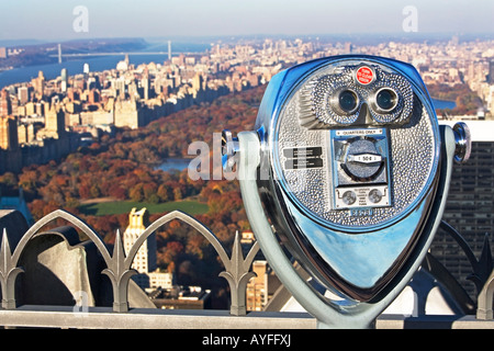 stationary viewer and Central Park, New York City - Stock Photo