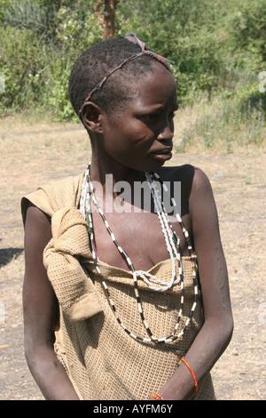 Africa Tanzania Lake Eyasi young teen Hadza female A small tribe of hunter gatherers AKA Hadzabe April 2007 - Stock Photo