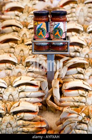Seattle Washington State USA Fish stall Pike Place Market Dungeness Crabs Shell fish - Stock Photo