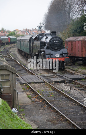 BR Standard 4MT 2-6-4T 80104 enters Swanage - Stock Photo