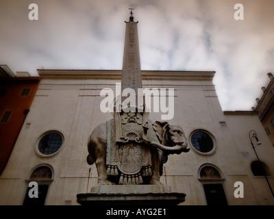 Bernini designed this elephant to carry the obelisk of the Santa Maria Sopra Minerva on Piazza della Minerva Rome - Stock Photo