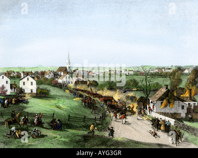 Retreat of the British from Concord at the outset of the American Revolution 1775. Hand-colored steel engraving