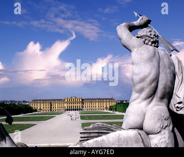AT - VIENNA: Schoenbrunn Palace and Gardens with Neptun Fountain in foreground - Stock Photo