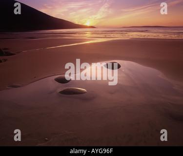 IE - CO. MAYO: Sunset at Doogort Strand on Achill Island (Atlantic Coast) - Stock Photo