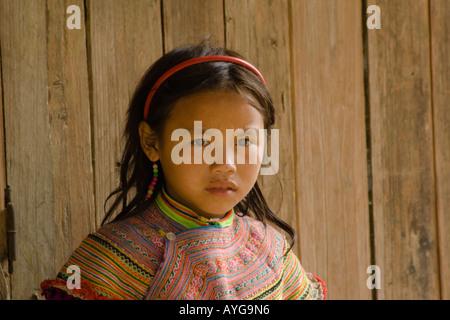 Beautiful Young Hmong Girl Bac Ha Market Near Sapa Vietnam - Stock Photo
