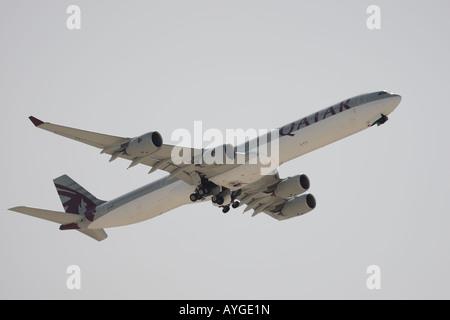 Qatar Airways jet on take off - Stock Photo