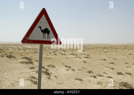 A sign indicating camel crossing in the desert of northern Kuwait near the Iraq border - Stock Photo