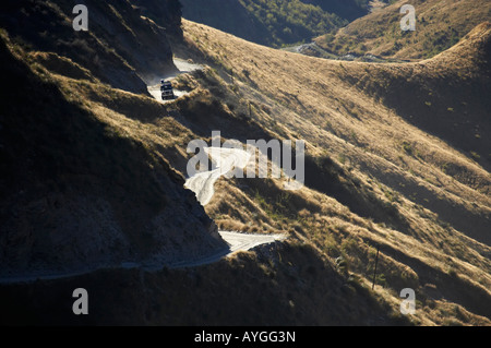 Landrover on Infamous Road into Skippers Canyon near Queenstown South Island New Zealand - Stock Photo