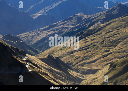 Four wheel drive on Infamous Road into Skippers Canyon near Queenstown South Island New Zealand - Stock Photo