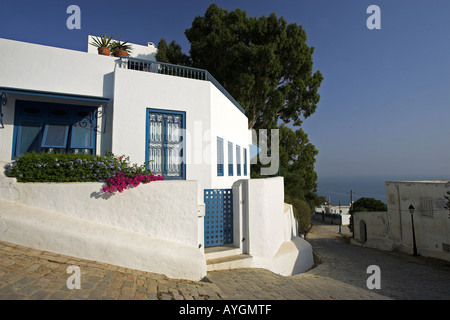 Whitewashed home with blue trim and lilac bougainvillea on cobbled street Sidi Bou Said village Tunisia - Stock Photo
