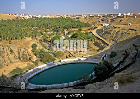 Spring fed pool in La Corbeille beside Nefta Oasis Tunisia - Stock Photo
