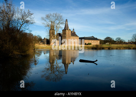 Schloss Hoensbroek in Heerlen, Niederlande, moated castle Hoensbroek in Heerlen, Netherlands, founded in 1250 - Stock Photo