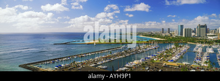 Above Ala Wai Harbor in Waikiki, Honolulu from Rainbow Tower Hilton Hawaiian Village on Oahu Island - Stock Photo