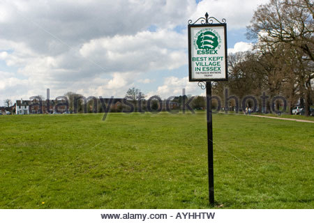 Best Kept Village In Essex sign, Theydon Bois, Essex, UK. - Stock Photo