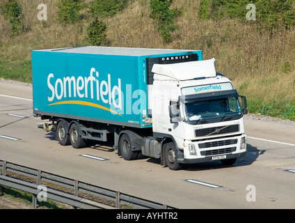 Somerfield articulated supermarket delivery trailer and Volvo lorry - Stock Photo