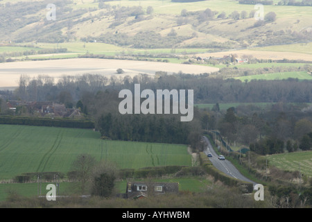 View from Ivinghoe Beacon of Dunstable Downs - Stock Photo