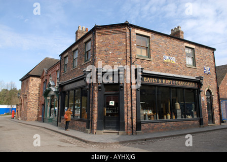 Blists Hill Victorian Town in Telford Shropshire The old chemist shop - Stock Photo